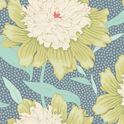 GardenLife Bowl Peony Grey Green by Tilda for Brewer Sewing TIL100314