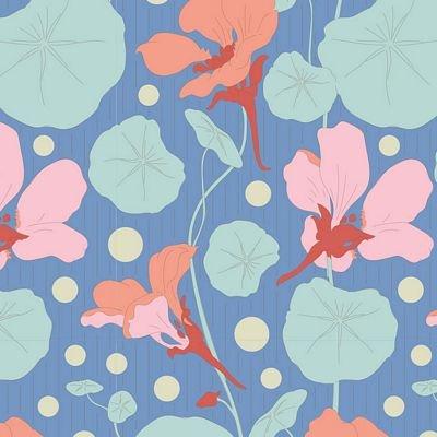 GardenLife Nasturtium Blue by Tilda for Brewer Sewing TIL100317
