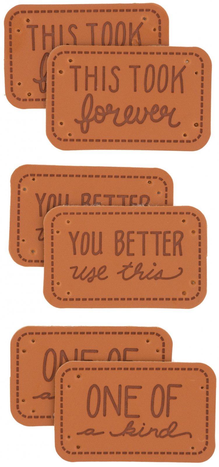 Sarcastic Leather Quilt Labels - Set of 6