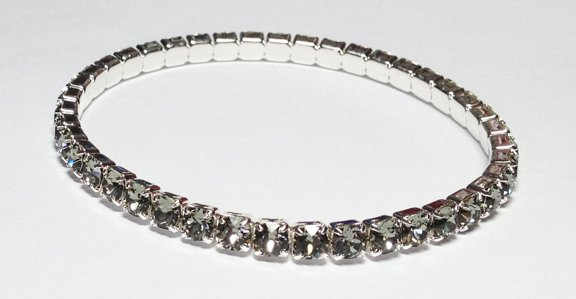 Black Diamond on Silver Bracelet