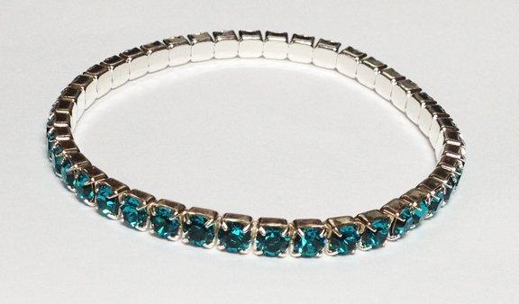 Blue Zicron on Silver Bracelet