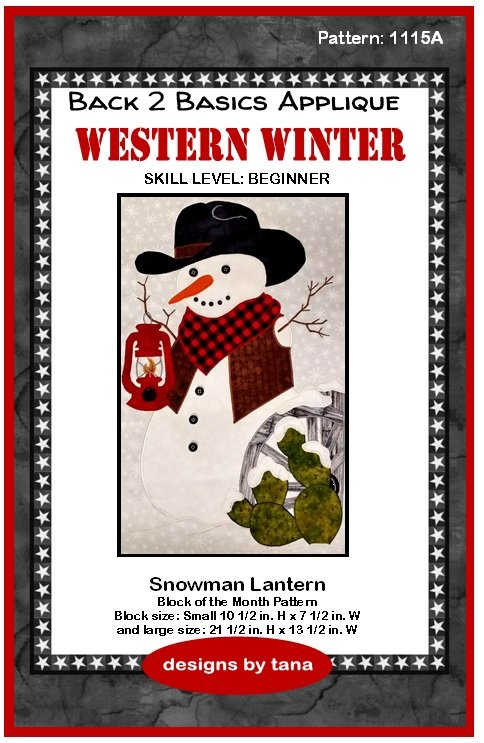 1115A Snowman Lantern applique pattern only