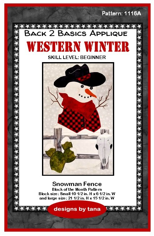 1116A Snowman Fence Applique pattern only