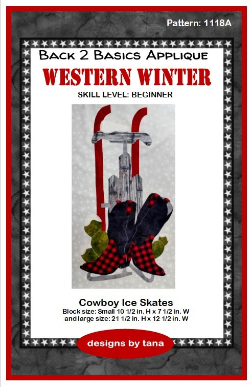 1118A Cowboy Ice Skates  applique pattern only