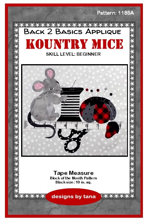 1185A Kountry Mice~Tape Measure applique pattern only