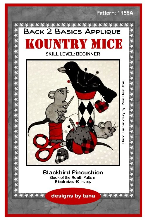 1186A Kountry Mice~Blackbird Pincushion applique pattern only
