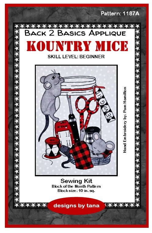 1187A Kountry Mice~Sewing Kit applique pattern only