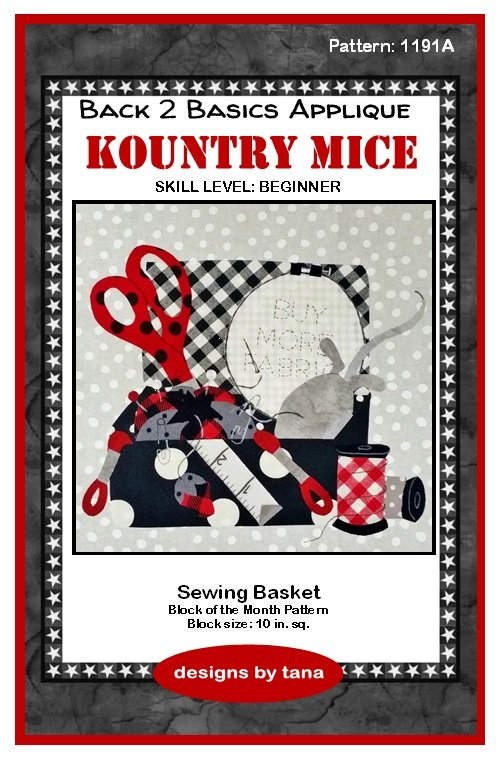 1191A Kountry Mice~Sewing Basket applique pattern only