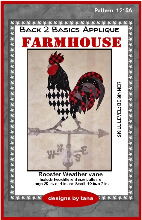 Farmhouse Rooster Weather vane applique pattern only
