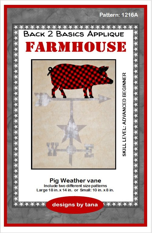 Farmhouse Pig Weather vane applique pattern only
