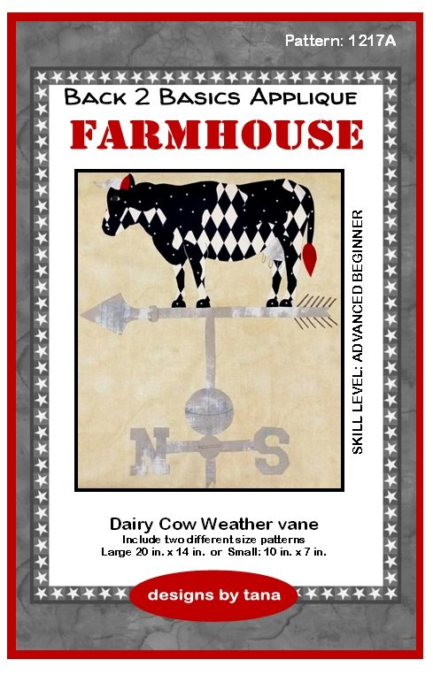 Farmhouse Dairy Cow Weather vane applique pattern only