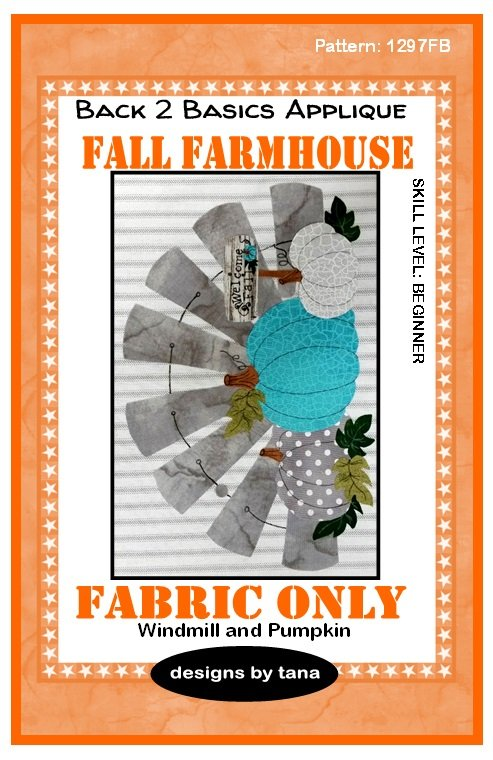 1297KB Fall Farmhouse~Windmill & Pumpkins Turquoise fabric kit