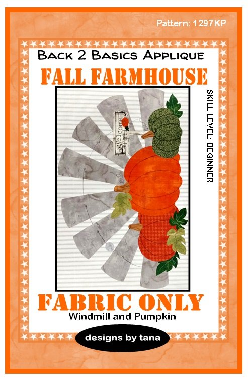 1297KP Fall Farmhouse~Windmill & Pumpkins Pumpkin fabric kit