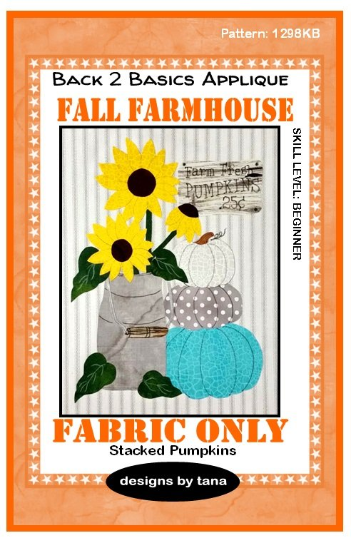 1298KB Fall Farmhouse~Stacked Pumpkins Turquoise fabric kit