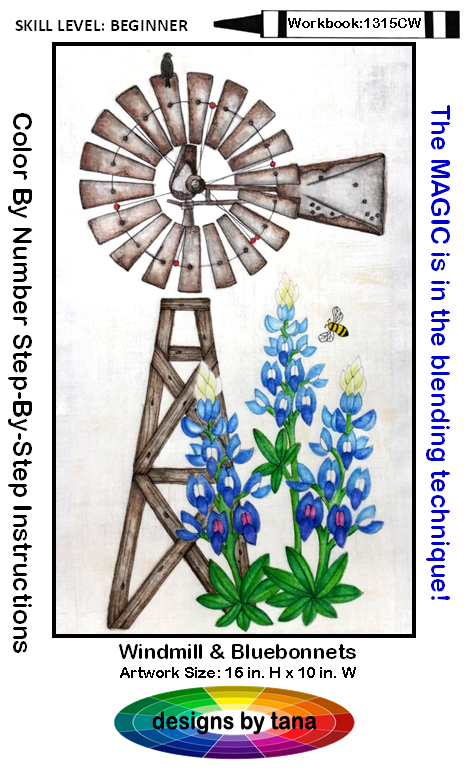 1315CWK Windmill & Bluebonnets Coloring Workbook & Kit