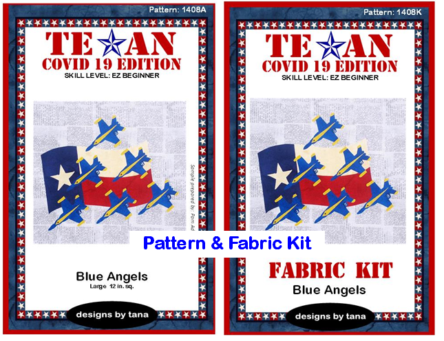 1408AK Texan COVID 19 Edition ~ Blue Angels Pattern and Fabric Kit