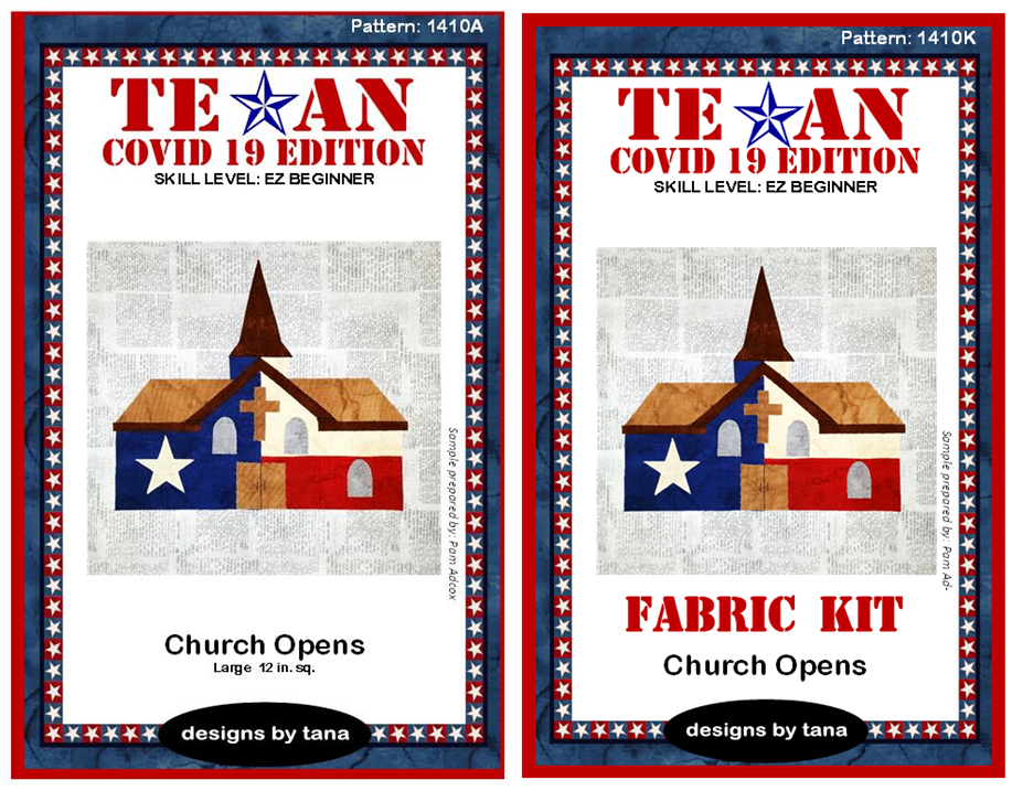 1410AK Texan COVID 19 Edition ~ Church Opens Pattern and Fabric Kit
