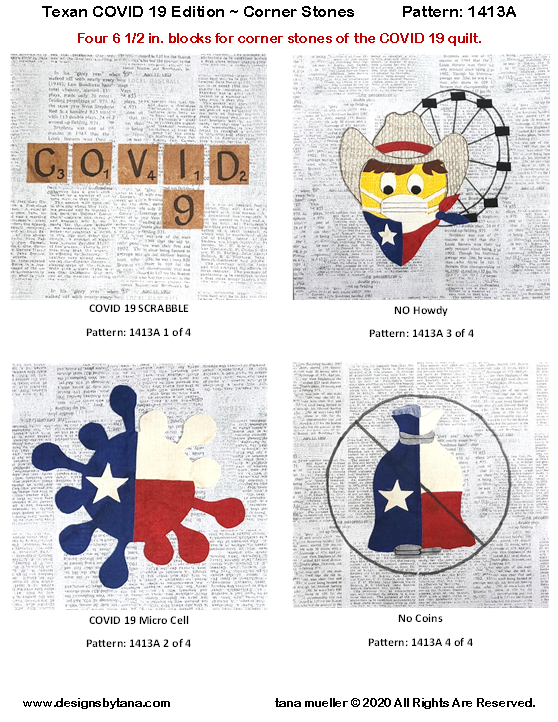1413A Texan COVID 19 Edition ~ Corner Stones PATTERN ONLY