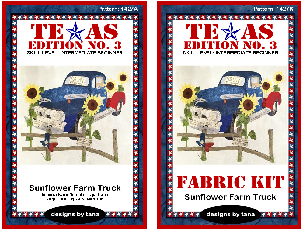 1427AK Texas Edition No. 3 ~ Sunflower Farm Truck Pattern and Fabric Kit