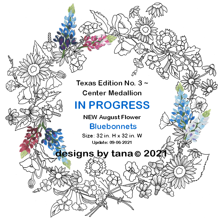 1428WKX Texas Edition No. 3 ~ Wildflower Wreath Patterns & Fabric Kit