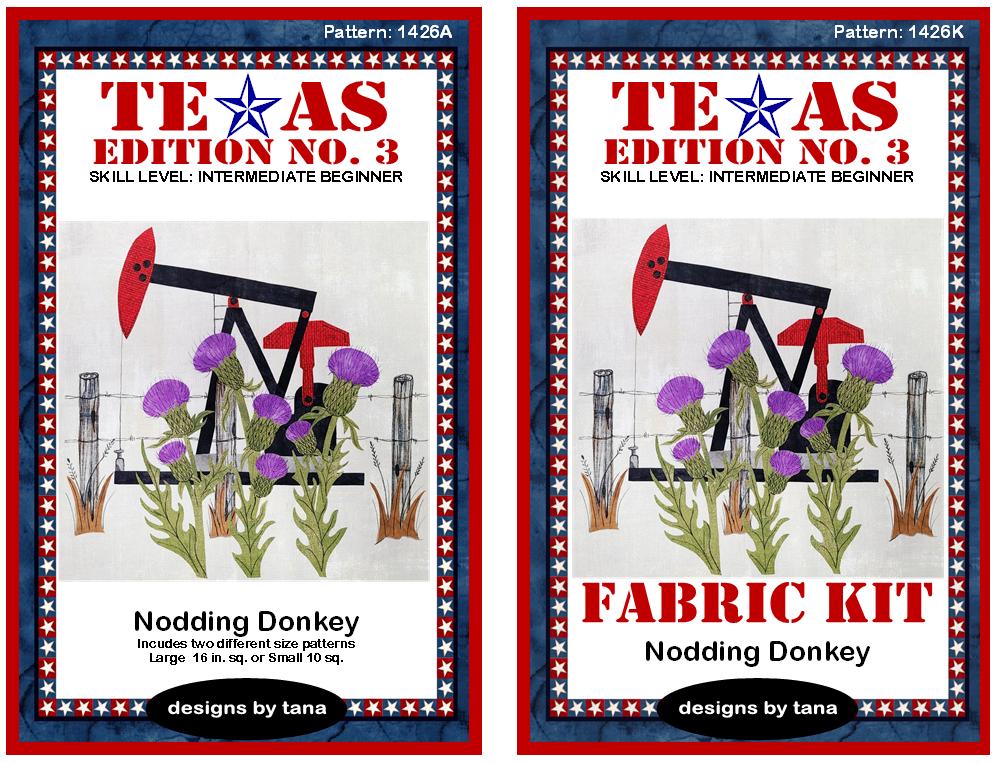 1426AK Texas Edition No. 3 ~ Nodding Donkey Pattern and Fabric Kit