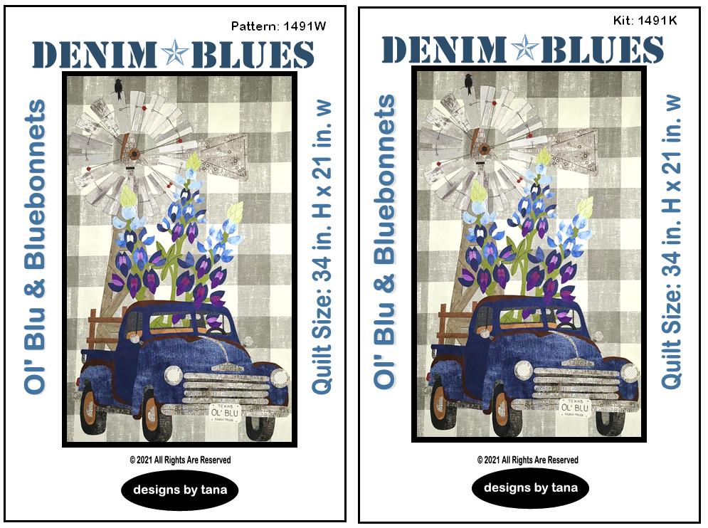 1491WK Ol' Blu & Bluebonnets Workbook and Fabric Kit