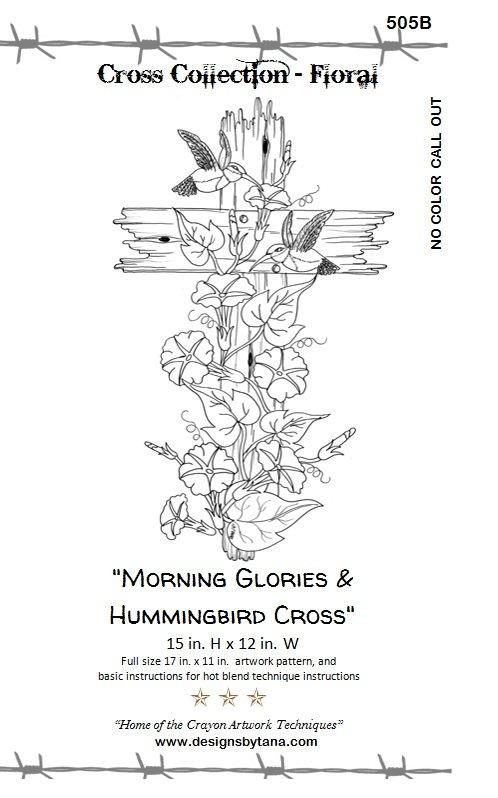 Morning Glories and Hummingbird Cross