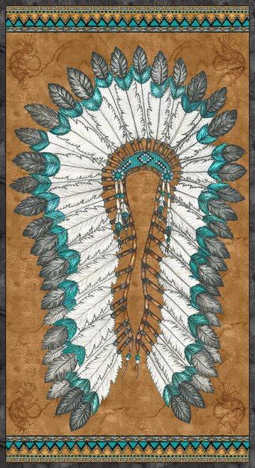 9914P 35 Red Rock Reflections War Bonnet Panel 24 inches
