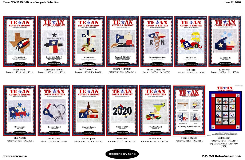 1401TC19EAK Texan COVID 19 Edition Complete Set PATTERN AND KITS