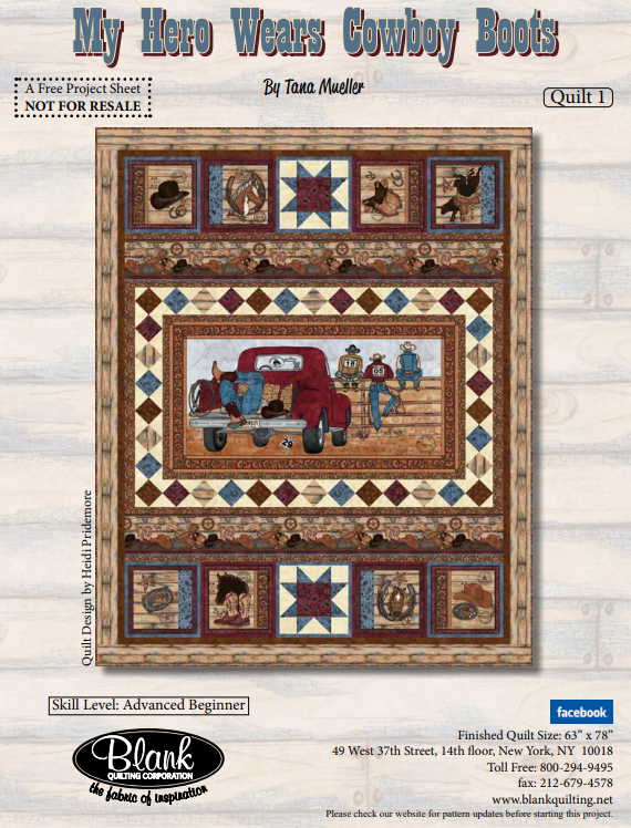 My Hero Wears Cowboy Boots Quilt 1 Kit