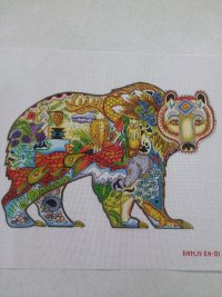 A Painted Needlepoint Bear Canvas