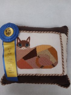 Needle Point Cat Pillow