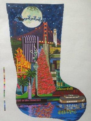Christmas Stocking With City Scene