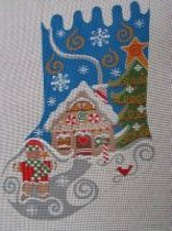 A Danji Christmas Stocking Painted Needlepoint Canvas