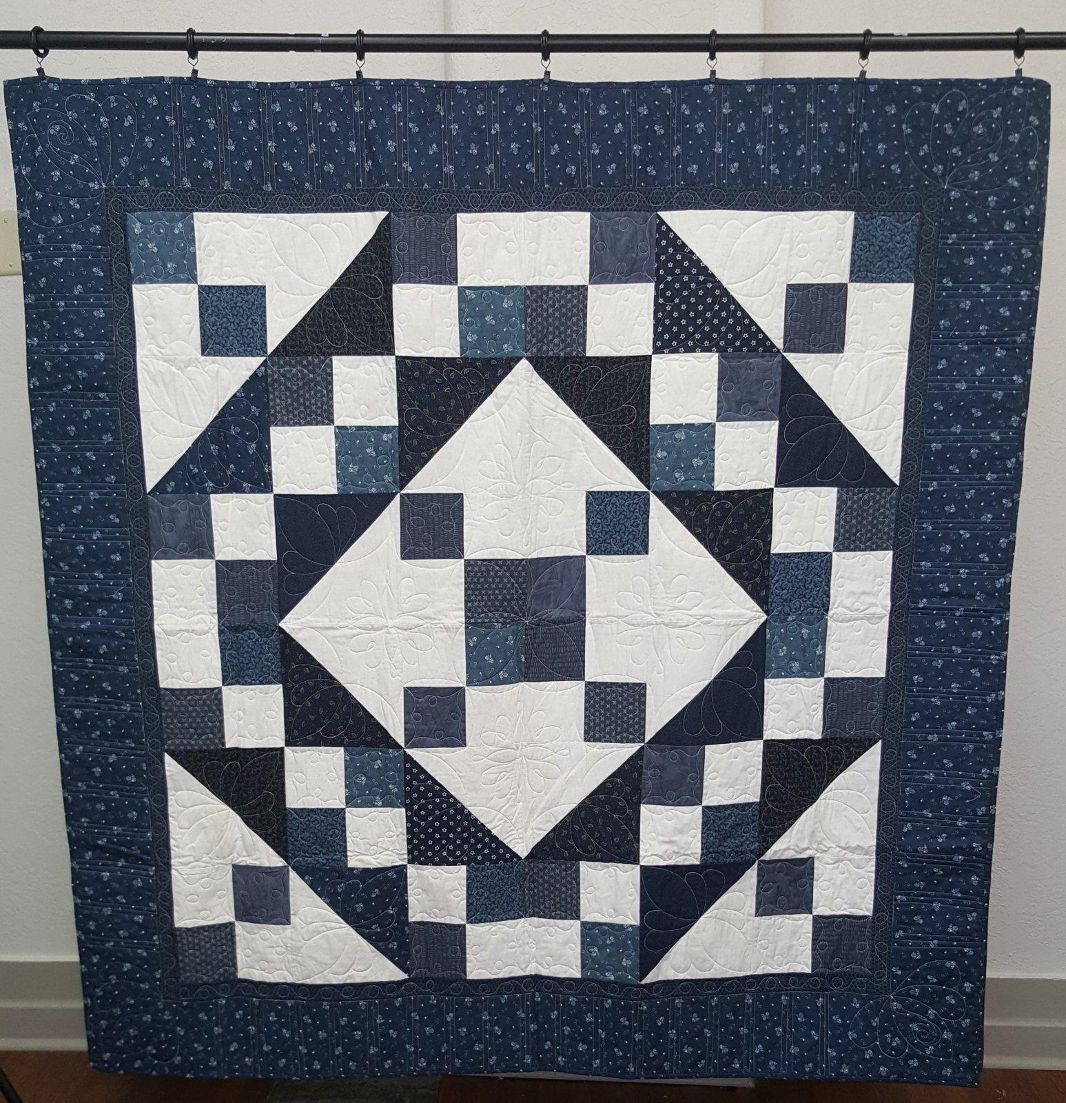 Blue/White Jacob's Ladder Quilt