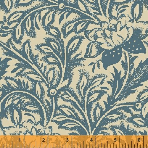 Postage Stamp Flower Scroll Blue