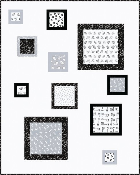 Penned Pals Quilt Kit - Black