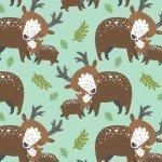 Animal Hugs Brown Deer on Teal Background