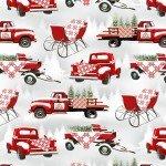 HG-Holiday Heartland 9216-98 Gray/Red - Trucks Allover