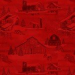 HG-Holiday Heartland 9210-88 Red - Monotone Barns