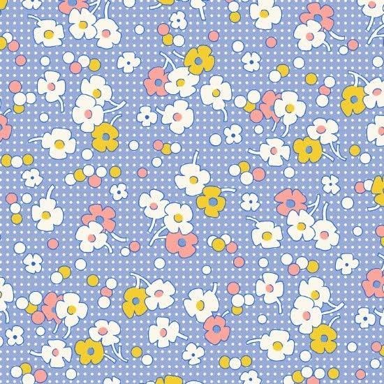 Floral with Dots Blue