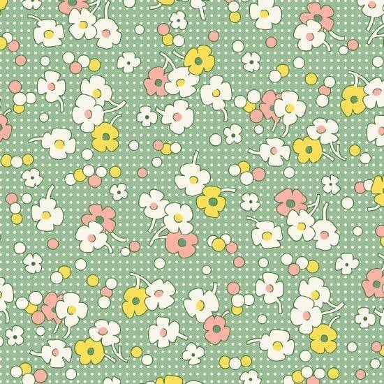 Floral Dots Green