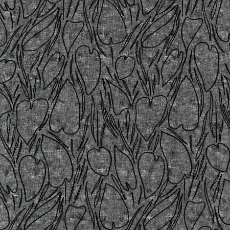 Black Heart Shaped Leaves Cotton/Linen Blend