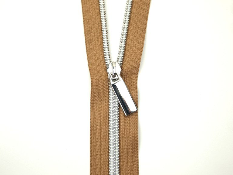 Sallie Tomato Zipper by the Yard Natural & Silver
