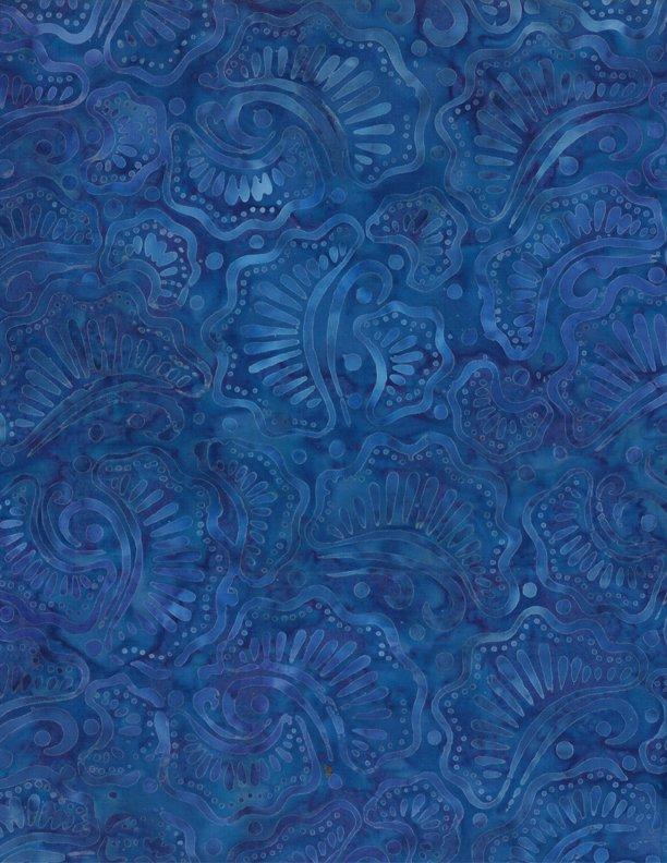 Wavy Fans Batik Dark Blue