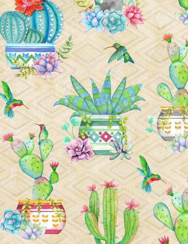 Humming Along Cactus on Tan