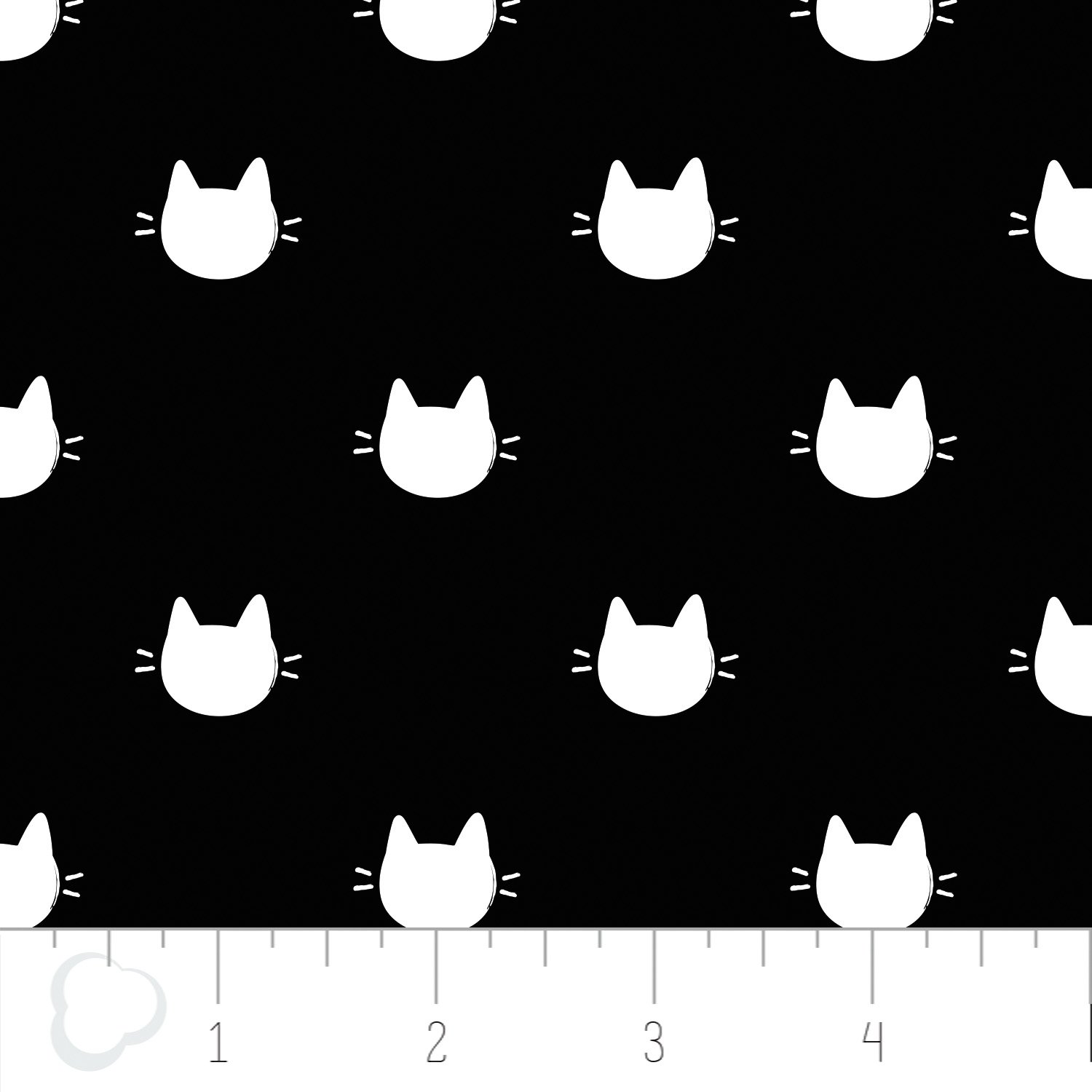 Meow Kitty Dots on Black
