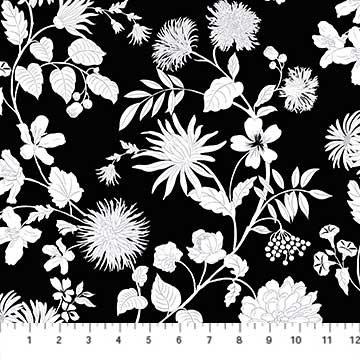 Black & White White Floral on Black