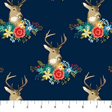 Chloe Floral with Stag on Navy
