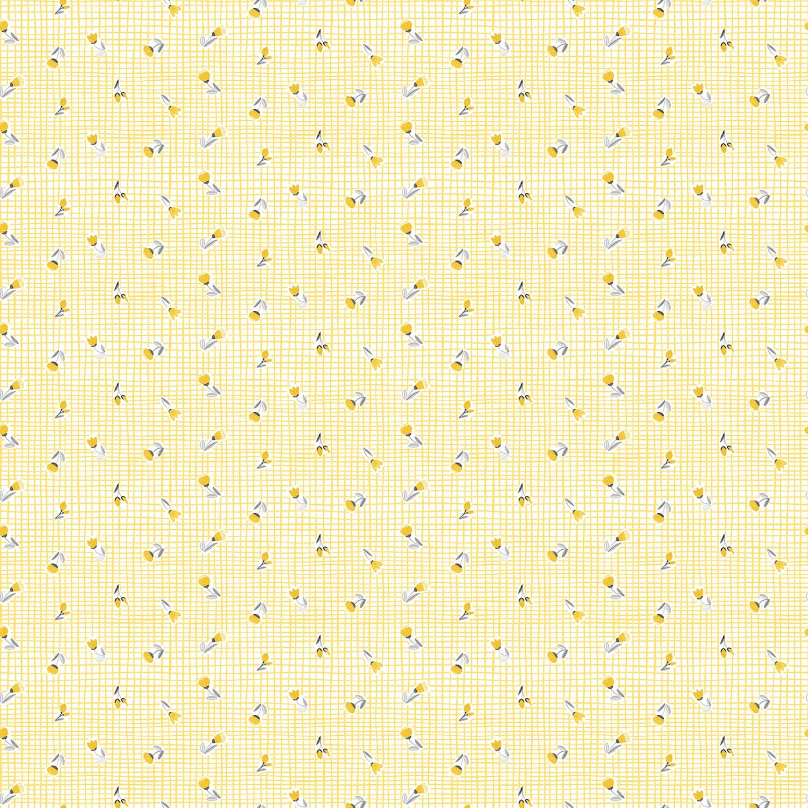 Sew Sweet Yellow Flowers on Grid